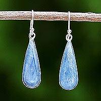 Rhodium plated kyanite dangle earrings, 'Morning Raindrops' - Rhodium Plated Kyanite Drop Dangle Earrings from Thailand