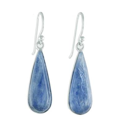 Rhodium Plated Kyanite Drop Dangle Earrings from Thailand