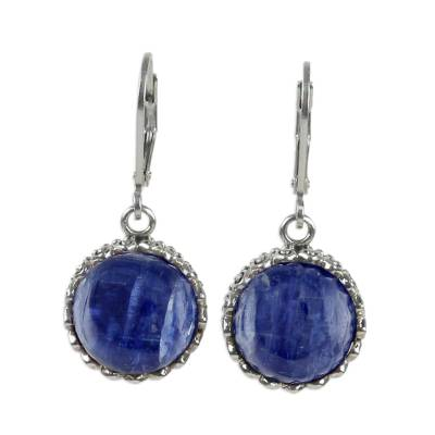Kyanite and Sterling Silver Dangle Earrings from Thailand