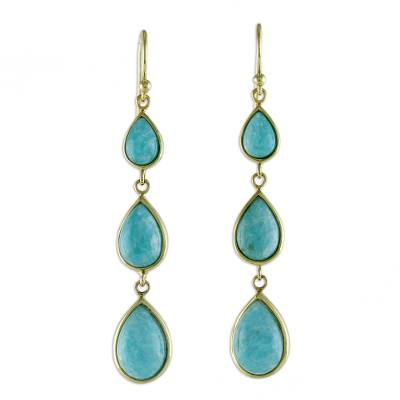 Gold Plated Amazonite Teardrop Dangle Earrings from Thailand