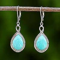 Rhodium plated amazonite dangle earrings,