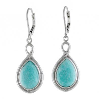 Rhodium Plated Amazonite and Sterling Silver Dangle Earrings