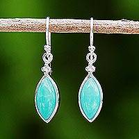 Rhodium plated amazonite dangle earrings, 'Knowing Eyes' - Rhodium Plated Amazonite Dangle Earrings from Thailand