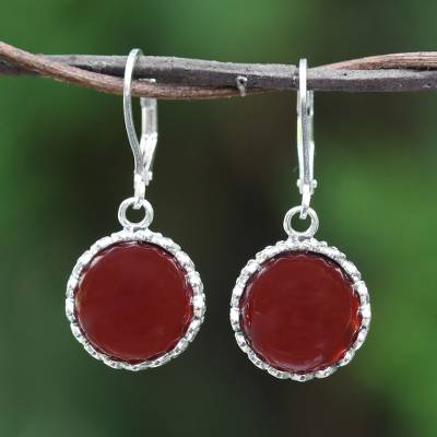 Carnelian dangle earrings, 'Pointed Petals' - Carnelian and Sterling Silver Dangle Earrings from Thailand