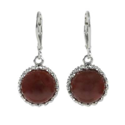 Carnelian and Sterling Silver Dangle Earrings from Thailand