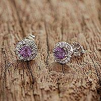 Rhodium plated amethyst stud earrings, 'Thai Sparkles' - Rhodium Plated Amethyst and Cubic Zirconia Stud Earrings