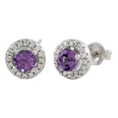 Rhodium Plated Amethyst and Cubic Zirconia Stud Earrings