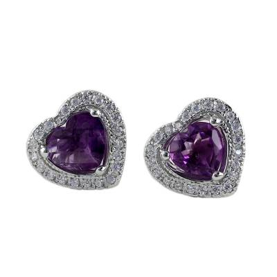 Rhodium Plated Amethyst Heart Shaped Stud Earrings