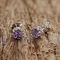 Rhodium plated amethyst stud earrings,