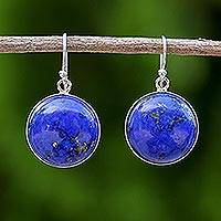 Rhodium plated lapis lazuli dangle earrings, 'Blue Moon Spirit' - Rhodium Plated Lapis Lazuli Dangle Earrings from Thailand