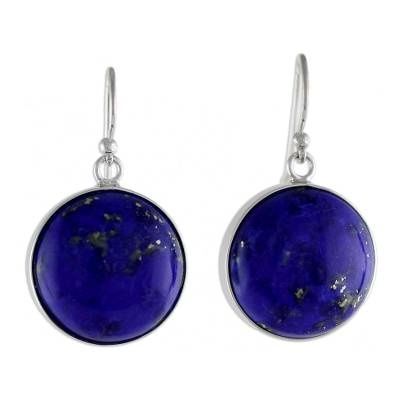 Rhodium Plated Lapis Lazuli Dangle Earrings from Thailand