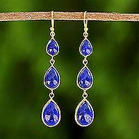 Gold plated lapis lazuli dangle earrings, 'Nectar Drops' - Gold Plated Thai Lapis Lazuli Teardrop Dangle Earrings