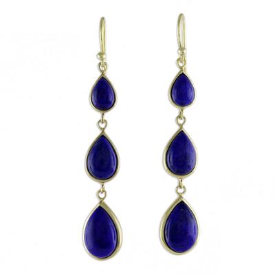 Gold Plated Thai Lapis Lazuli Teardrop Dangle Earrings