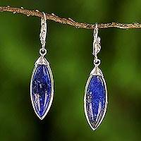 Rhodium plated lapis lazuli dangle earrings, 'Spatial Blue' - Rhodium Plated Lapis Lazuli Dangle Earrings from Thailand