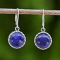 Lapis lazuli dangle earrings, 'Pointed Petals' - Lapis Lazuli and Sterling Silver Thai Dangle Earrings