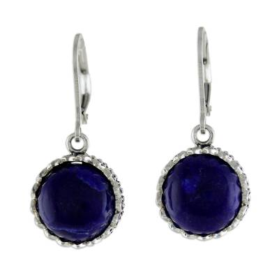 Lapis Lazuli and Sterling Silver Thai Dangle Earrings