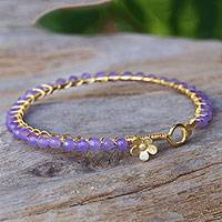 Gold plated quartz bangle bracelet, 'Garden Vine in Lilac' - Purple Quartz Gold Plated Bangle Bracelet from Thailand