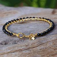 Gold plated onyx bangle bracelet, 'Garden Vine in Black' - Onyx Gold Plated Beaded Bangle Bracelet from Thailand