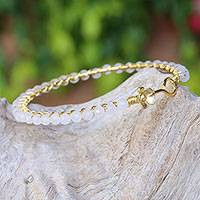 Gold plated moonstone bangle bracelet, 'Garden Vine' - Moonstone Gold Plated Beaded Bangle Bracelet from Thailand