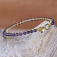 Gold plated amethyst bangle bracelet, 'Garden Vine in Purple' - Amethyst Gold Plated Beaded Bangle Bracelet from Thailand