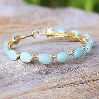 Gold plated chalcedony bangle bracelet, 'Flower Trellis' - Chalcedony Gold Plated Beaded Bangle Bracelet from Thailand