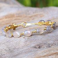 Gold plated moonstone bangle bracelet, 'Flower Trellis' - Moonstone Gold Plated Beaded Bangle Bracelet from Thailand
