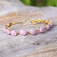 Gold plated rhodonite bangle bracelet,