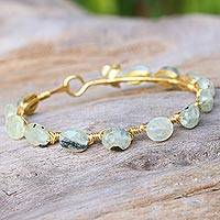Gold plated prehnite bangle bracelet,