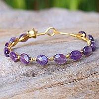 Gold plated amethyst bangle bracelet, 'Flower Trellis' - Amethyst Gold Plated Beaded Bangle Bracelet from Thailand