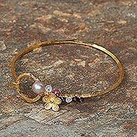 Gold plated multi-gemstone bangle bracelet, 'Daisy Blossom' - Gold Plated Multi-Gemstone Floral Bracelet from Thailand