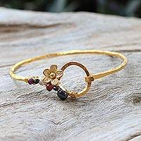 Gold plated multi-gemstone bangle bracelet, 'Blooming Season' - Gold Plated Multi-Gemstone Floral Bracelet from Thailand