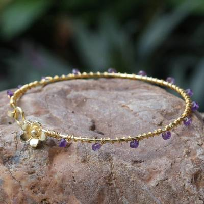 Gold plated amethyst bangle bracelet, 'Floral Berries' - Gold Plated Amethyst Floral Bangle Bracelet from Thailand