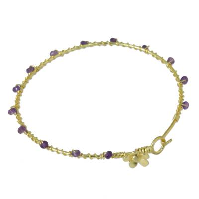 Gold Plated Amethyst Floral Bangle Bracelet from Thailand