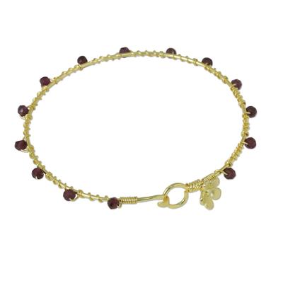 Gold Plated Garnet Floral Bangle Bracelet from Thailand