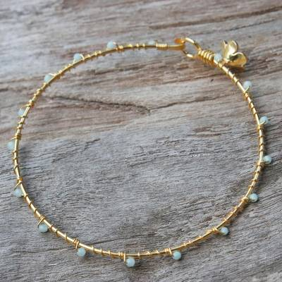 Gold plated chalcedony bangle bracelet, 'Floral Berries' - Gold Plated Chalcedony Floral Bangle Bracelet from Thailand