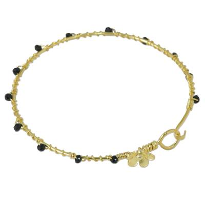 Gold Plated Onyx Floral Bangle Bracelet from Thailand