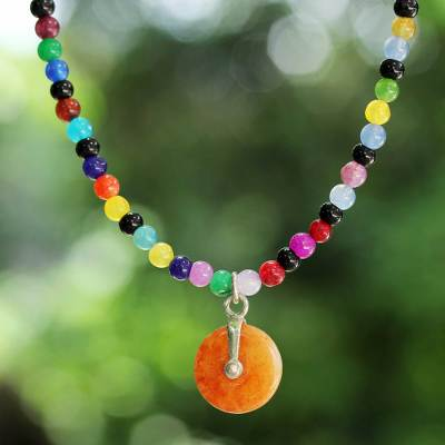Beaded quartz choker, 'Summertime Rainbow' - Multicolored Beaded Quartz Choker from Thai Artisan