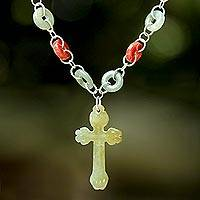 Jade cross pendant necklace, 'Circle of Faith' - Jade and Quartz Cross Pendant Necklace from Thailand