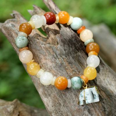 Jade and quartz beaded charm bracelet, 'Elephant Remembrance' - Beaded Jade and Quartz Bracelet with Elephant Charm