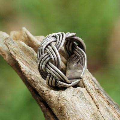 Sterling silver wrap ring, 'Woven Charm' - Braided Sterling Silver Wrap Ring from Thailand
