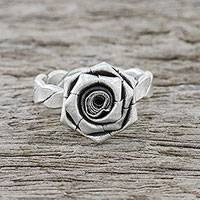 Sterling silver cocktail ring, 'Chic Rose' (small) - Small Hill Tribe Floral Sterling Silver Ring from Thailand