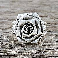 Sterling silver cocktail ring, 'Chic Rose' (large) - Floral Hill Tribe 925 Silver Cocktail Ring from Thailand