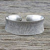 Sterling silver cuff bracelet, 'Chic Texture' - Textured Sterling Silver Cuff Bracelet from Thailand