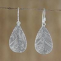 Sterling silver dangle earrings, 'Leafy Vibe' - Leaf-Shaped Sterling Silver Dangle Earrings from Thailand