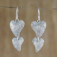 Sterling silver dangle earrings, 'Embrace Love' - Heart-Shaped Sterling Silver Dangle Earrings from Thailand