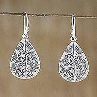 Sterling silver dangle earrings, 'Drops of Nature' - Drop-Shaped Sterling Silver Dangle Earrings from Thailand