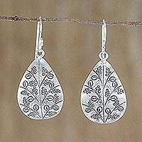 Sterling silver dangle earrings, 'Drops of Flowers' - Drop-Shaped Floral Sterling Silver Earrings from Thailand