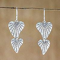 Sterling silver dangle earrings, 'Road to My Heart' - Sterling Silver Heart Dangle Earrings from Thailand