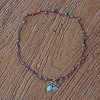 Chalcedony beaded necklace,