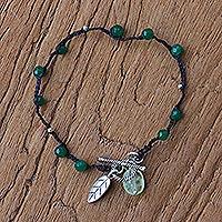 Quartz and prehnite beaded bracelet,